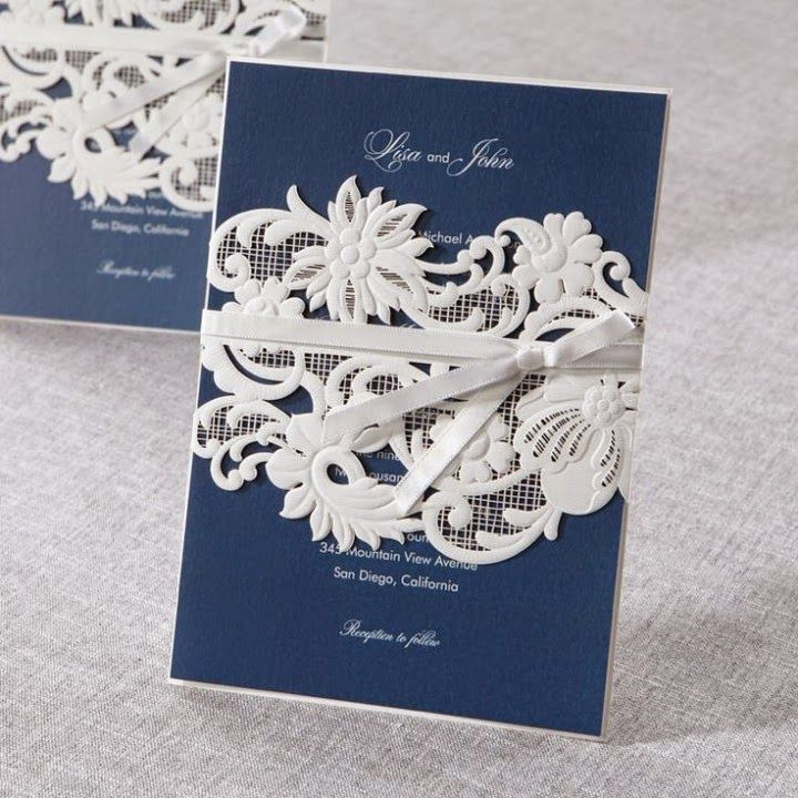wedding card invitation cards online%0A white and navy blue wedding invitation cards