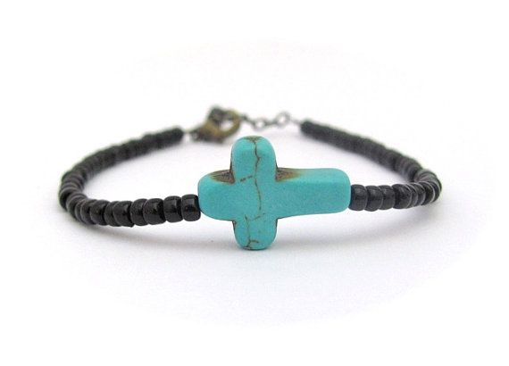SALE Turquoise Blue Cross Bracelet Sideways Cross Christian