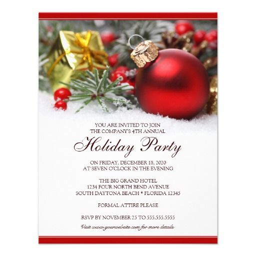 Corporate Holiday Party Invitation featuring a red ...