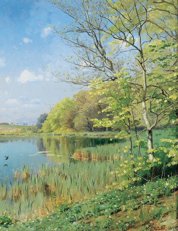 Peder Mørk Mønsted (1859-1941): The First Swallow, 1895: Suzanne, check out the boards of Joanna Lazuchiewicz.