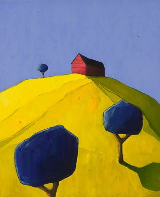 "Scott Redden  Red Barn Composition, 2006, oil on linen, 22"" x 18"""