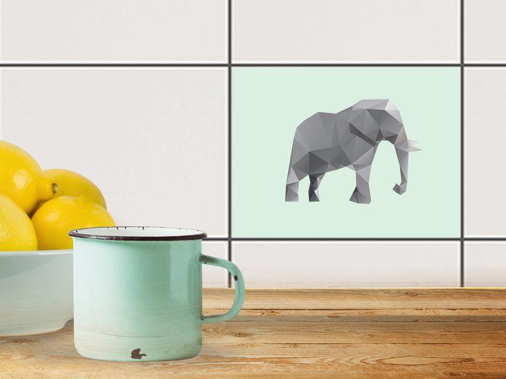 mit fliesenaufkleber quer fr kche und bad mit dem design origami elephant die folie ist einfach aufzubringen und rckstandsfrei wieder abzulsen - Kuche Renovieren Folie