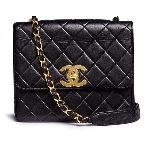 Vintage Chanel Square quilted lambskin leather big CC flap bag ($4,415) ❤ liked on Polyvore featuring bags, handbags, black, lamb leather handbags, lambskin leather purse, flap bag, quilted flap bag and lambskin purse