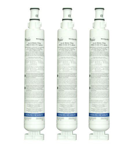 Whirlpool 4396701T Quarter-Turn Top Mount Refrigerator Water Filter, 3-Pack Use in Whirlpool and KitchenAid top freezer refrigerators with filter access in the base grille.. NSF certified refrigerator water filter retains beneficial fluoride in water, reduces chlorine taste and odor. Also reduces particulates, lead, mercury. Replace every 6 months for maximum efficiency. Helps to ensure clean, saf... #Whirlpool #HomeImprovement