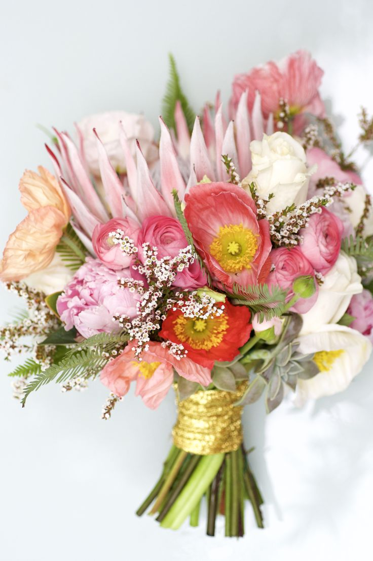 Beautiful Native mix with poppy, peonies, fern, roses, and wax flowers