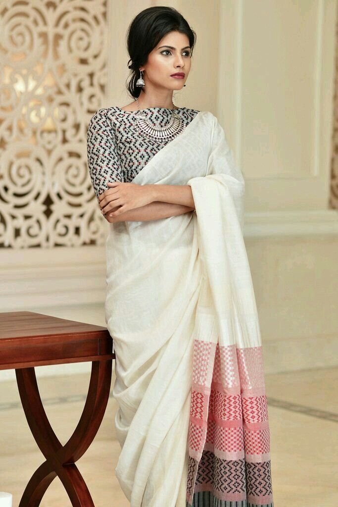 Try this Blouse for the bw Saree with checks