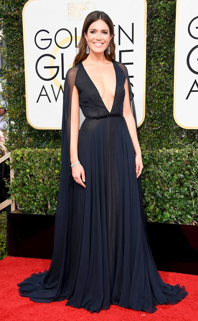 Plunging Neckline from 2017 Golden Globes' Sexiest Trends  Mandy Moore looked chic in navy.