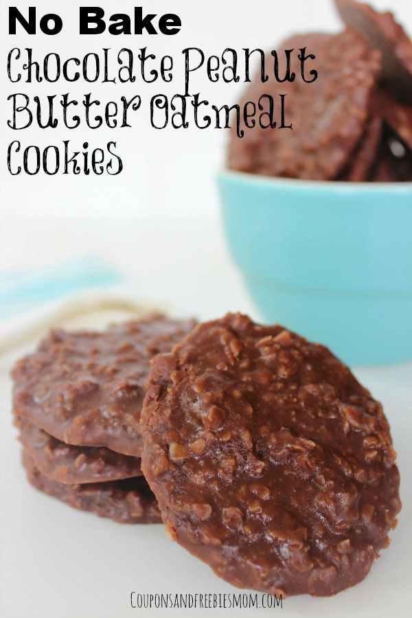 No Bake Chocolate Peanut Butter Oatmeal Cookies are so fun, yummy and perfect for surprising your kids with as a great after school treat!
