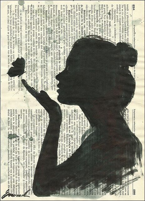 silhouette of girl and butterfly
