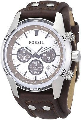 Fossil CH2565 Men's Cuff Chronograph Brown Leather Authentic Watch New in box