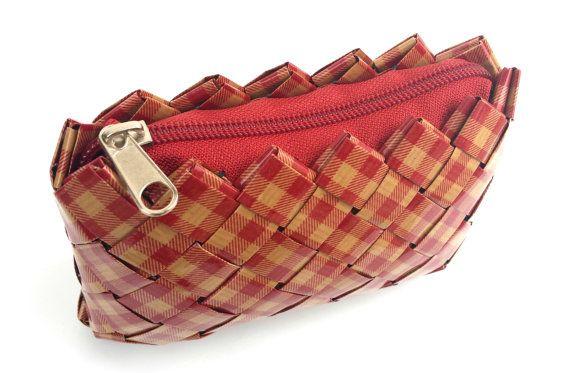 Handmade Red Checkered PaperBag Handbag by ThePaperBags