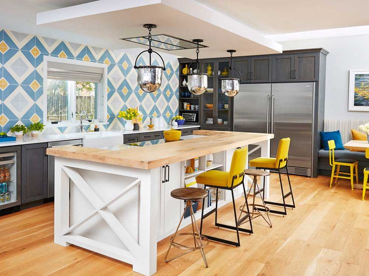 New York Modern Kitchen Design Ideas with wooden floor and mosaic tile