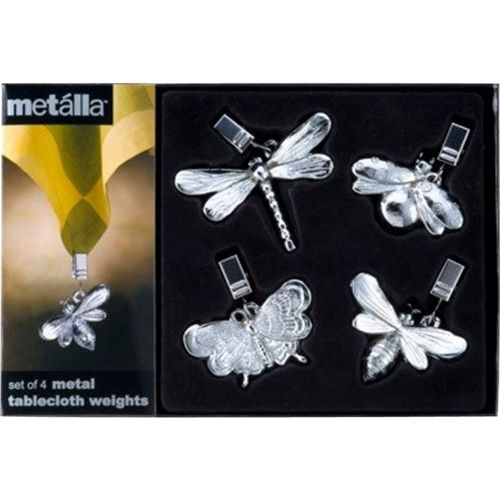 Prodyne - 4-Piece Metal Garden Dwellers Tablecloth Weights Set - Silver