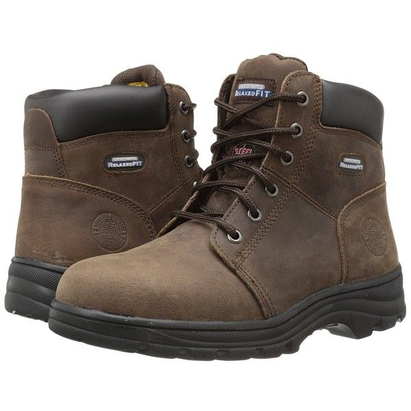 SKECHERS Work Workshire - Peril (Dark Brown Buffalo Crazy Horse... (£64) ❤ liked…
