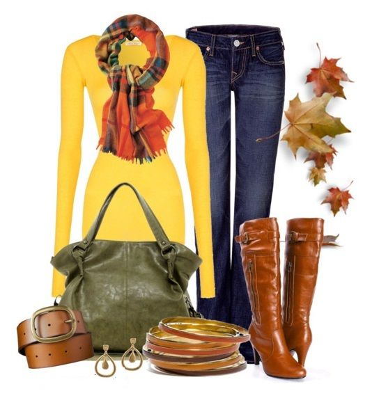 Yellow sweater, orange and black scarf, brown boots, green purse,Fall outfit,Autumn outfit