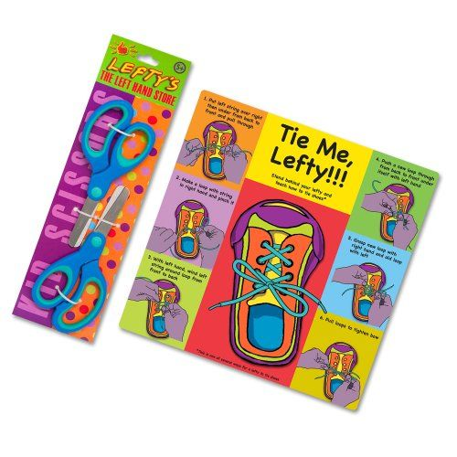 Teach a Child How to Tie Shoes Using Their Left Hand Instruction Card Plus Two Left Handed Scissors for Kids Lefty's The Left Hand Store http://www.amazon.com/dp/B00A1HJF4E/ref=cm_sw_r_pi_dp_3nU3ub1S65VYC