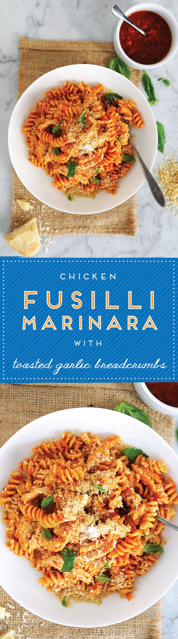 "Who wouldn't want this deliciousness? // ""Fusilli Marinara with Chicken & Toasted Garlic Breadcrumbs"""