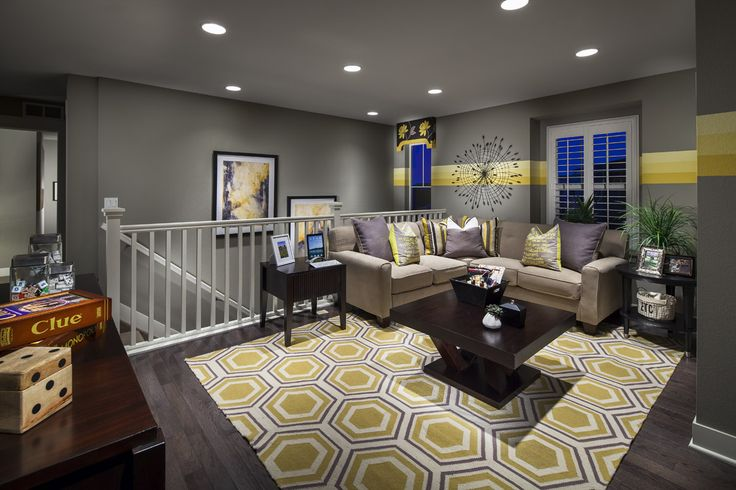 Game area on credenza.  Cute den idea, or basement, or loft.