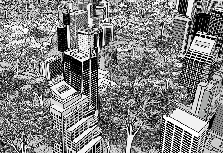 My idea of a futuristic city. Dense urban spaces interspersed with natural bushland.  Image from Stuart McMillen's comic Thin Air.