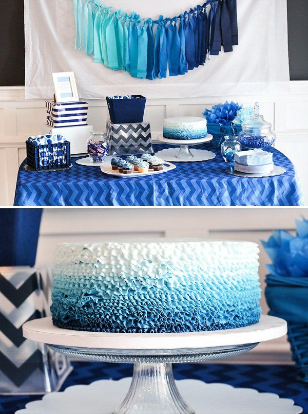 Blue Ombre Dessert Table for a Blue Baby Shower