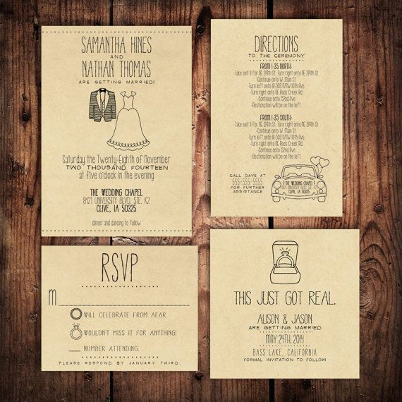 Wedding Invitation Suite Set - Personalized, Digital, Printable, Custom, DIY - RUSTIC, KRAFT Paper (Wedding Design #20) on Etsy, $10.00