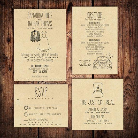 Wedding Invitation Suite Set - Personalized, Digital, Printable, Custom, DIY - RUSTIC, KRAFT Paper (Wedding Design #20) on Etsy, £6.27