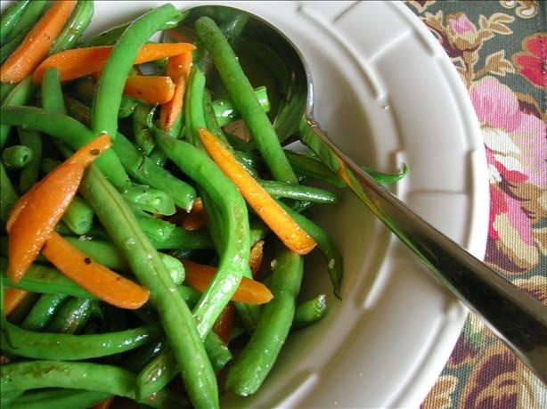 Green Beans and Carrots Sauteed in Butter and Garlic.