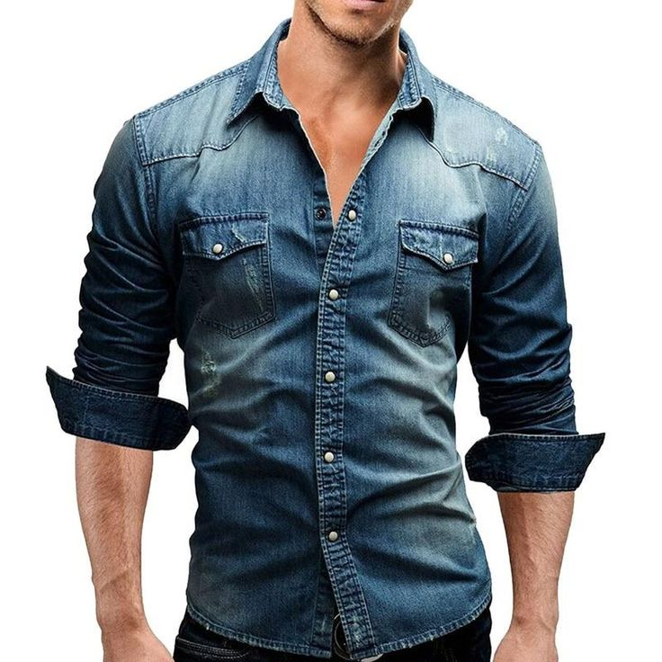 MJARTORIA Denim Shirts Men Cotton Jeans Shirt Fashion Autumn Slim Long Sleeve Cowboy Blouse Stylish Wash Slim Top Asian Size New