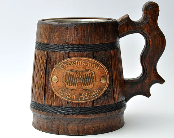 Wooden beer mug with Personalized decor 0,65 l (22oz). Groomsmen gift, Beer tankard, Personalized Best Man Gift, Grooms gift, Wood mug (083) by GoodMoodInWood on Etsy