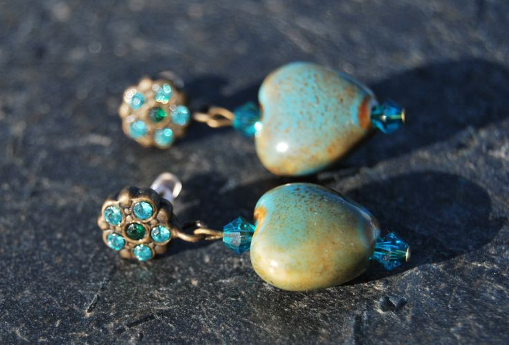 Brass and turquoise heart earrings by NorthernlightsNO on Etsy