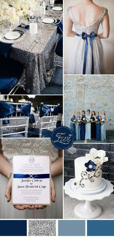 saphhire blue and silver sequin wedding coor ideas and invitations