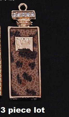 Tall no1 leopard perfume bottle 3pc lot alloy diy bling phone deco  | chriszcoolstuff - Craft Supplies on ArtFire