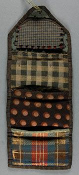 """Philadelphia Museum of Art - Collections Object : Sewing Case (Housewife); figured and checked wool, green flowered damask back, black silk braid, unrolled: 11 x 4-1/8"""", 19th century"""