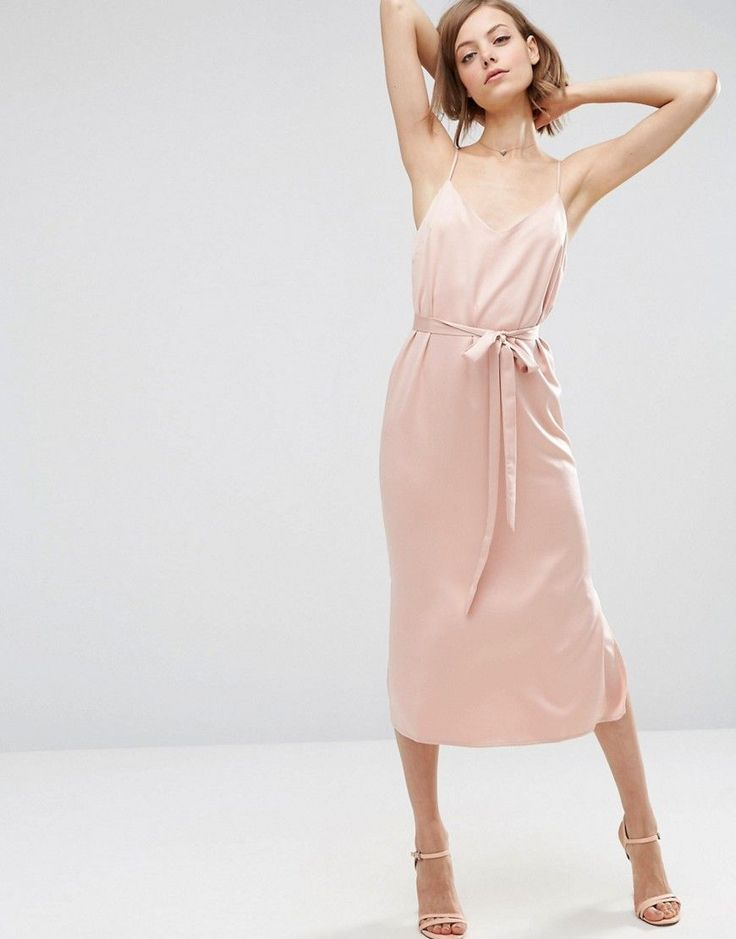 Image 1 of ASOS Midi Slip Dress in Satin With Tie Waist