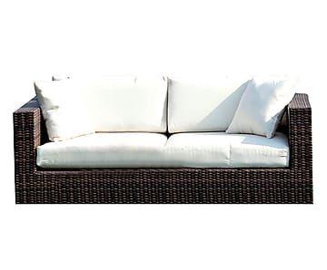Divano con cuscini in polipropilene marrone Capri, 166x80x64 cm