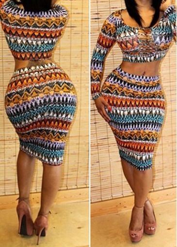 Rotita Long Sleeve Tribal Print Two Piece Dresses