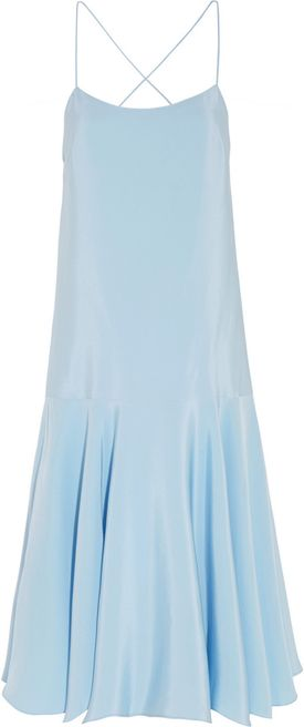 Tibi's pastel-blue silk-satin dress has a relaxed dropped waist and an asymmetric hem. This lightweight piece is detailed with delicate straps to flatter your shoulders and back - underpin it with a backless bra to keep the crossover design in focus. #youhabit #5swBfySTt