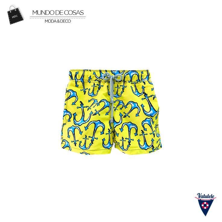 Pantaloneta ideal para este fin de semana con festivo incluido. Compra tu pantaloneta de @vatuleleswimwear en www.mundodecosas.com #Pantaloneta #designing #Shorts #Anchors #Yellow