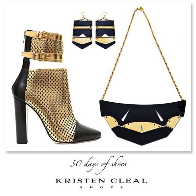B L A C K + G O L D >>>  SHOE #26 of 30- BALMAIN, Black & Gold Boots. These statement boots are from the Spring 2014 Collection. Matched with jewellery from Kristen Cleal's Summer Collection- Gladiator Earrings $20 & Warrior Necklace $35, available on our online Etsy store now! www.etsy.com/au/shop/KristenCleal. Be bold, be brave!