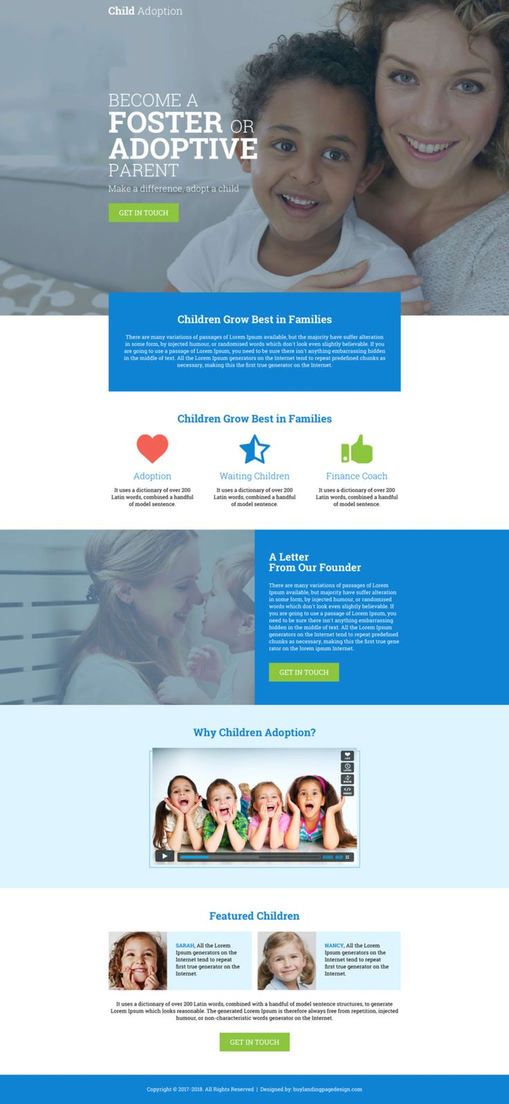 Child adoption and pet care agency clean and converting landing page designs by Mrinal Mahanti on The Dots.