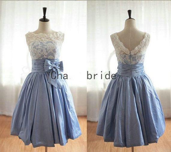 black friday Lace Light Blue Cheap Short Bridesmade Dresses Under 100 Honor Jurk Backless Bow Party Prom Gowns 2016