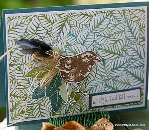 Card by Connie Mercer using Darkroom Door Fallen Leaves Background Stamp, Carved Leaves Vol 1 Rubber Stamps and Robin Eclectic Stamp. http://www.darkroomdoor.com/background-stamps/background-stamp-fallen-leaves