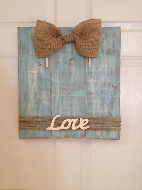 Handmade wooden picture <b>frame</b> <b>with burlap</b> <b>bow</b> and twine. Hand <b>painted</b> ...