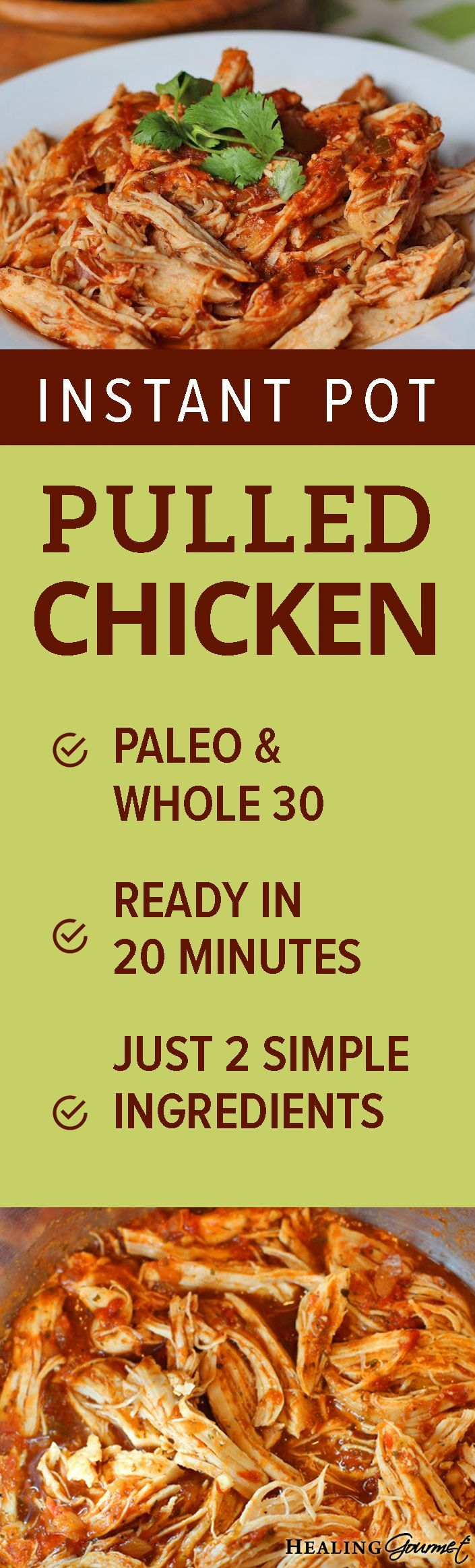 Two-Ingredient Instant Pot Pulled Chicken (in 10 Minutes!)
