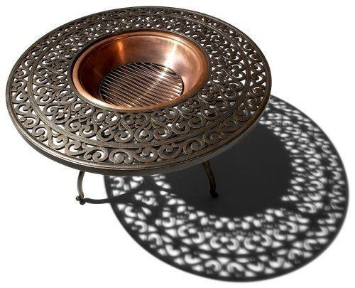 Strathwood St. Thomas Cast-Aluminum Fire Pit with Table [amazon]    All-weather round table with central fire pit  Made of durable, lightweight, rust-resistant cast aluminum in dark, flecked finish; easy assembly  Lid removes to expose recessed, bright copper 22-by-7-inch fire bowl  Black metal grate rests near bottom; mesh dome prevents sparks from flying  Table measures 42 inches in diameter by 22-1/2 inches high; weighs 44 pounds