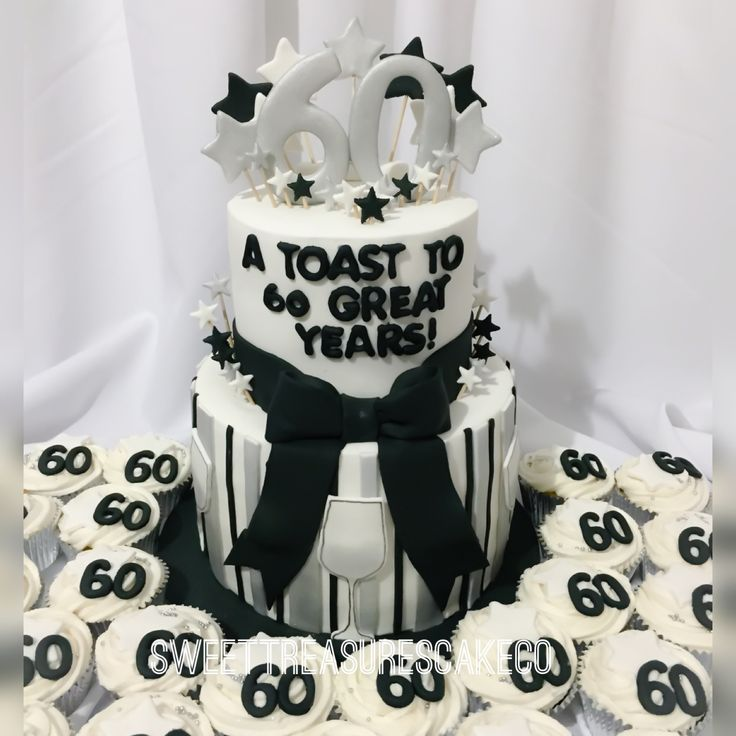 A toast to 60 great years 🍸🍸. Loved making this silver, black and white 60th birthday party cake. Inside is chocolate and vanilla cake...  #customcakes #celebrations #party #bestcakesintown #sweettreasures #sweettreasurescakeco #60thbirthday  #60th  #silver #black #white #cake #atoastto60greatyears #toast #joburg #johannesburg
