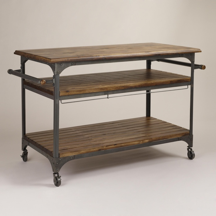 Captivating Wood And Metal Jackson Kitchen Cart