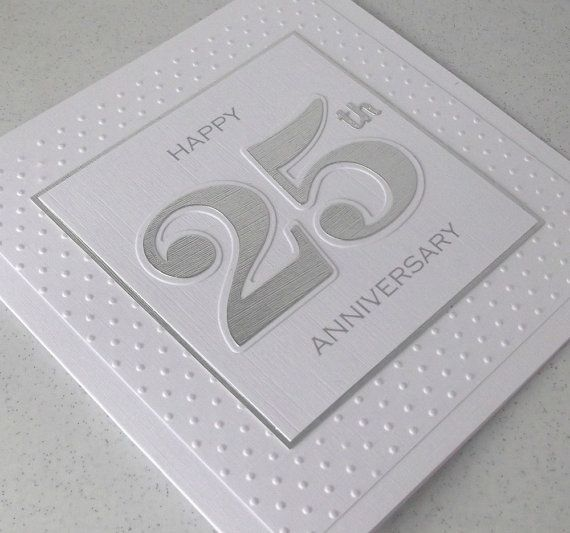 Handmade 25th silver wedding anniversary card - PaperDaisyCards2