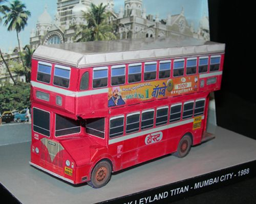 "Ashok Leyland Titan - Mumbai City - Papercrafts.it This is a typical double decker of Mumbai: the ASHOK LEYLAND ""TITAN""  In 1968, production of the popular bus Leyland Titan ceased in Britain, but was restarted by Ashok Leyland in India. The Titan PD3 chassis was modified, together with the Ashok Leyland version of the Leyland O.680 engine and a local made bodywork. The Ashok Leyland Titan was very successful, and continued in production for many years. That are still in service today…"