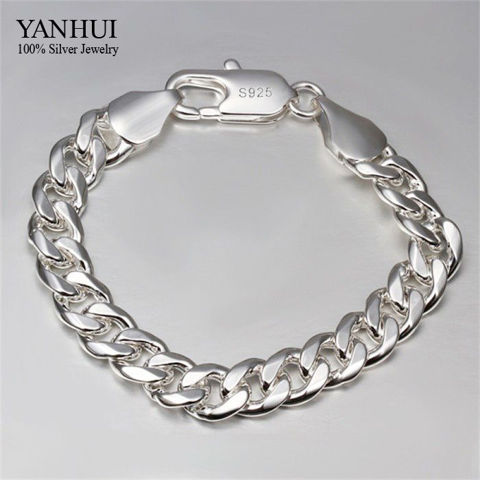 YANHUI Brand Fine Jewelry 100% 925 Sterling Silver Bracelet For Men Classic Charm Bracelet S925 Stamped Men's Bracelet HB051